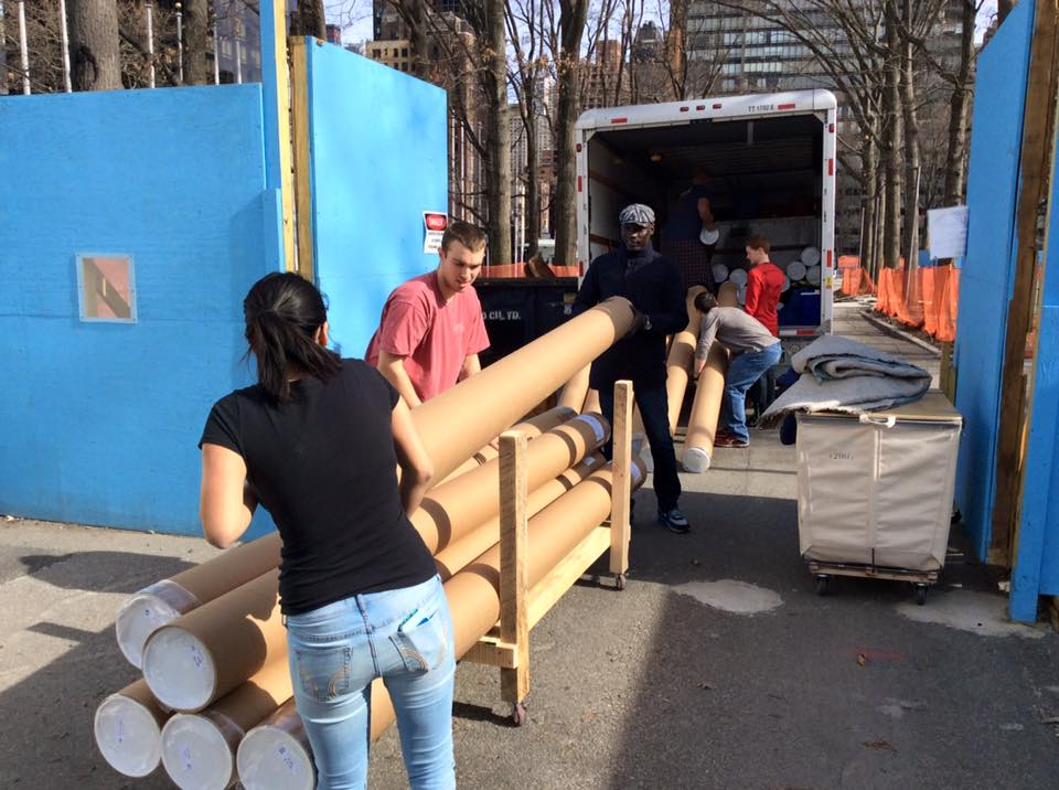 Volunteers unload pages for the Big Book - 500 of them! to the UN, March 20, 2016.
