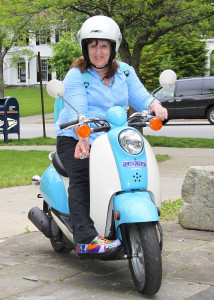 Betsy on Moped